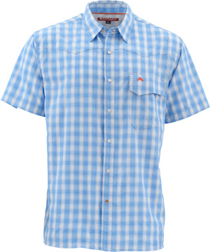 <font color=red>On Sale - Clearance</font><br>Simms Big Sky SS Shirt - Harbor Blue Plaid