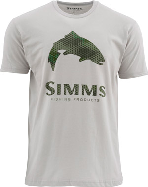 <font color=red>On Sale - Clearance</font><br>Simms Hex Camo Trout Logo SS T - Granite
