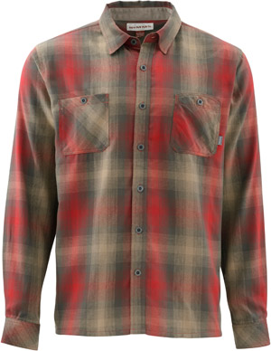 <font color=red>On Sale - Clearance</font><br>Simms Black's Ford LS Flannel Shirt - Dark Olive Plaid